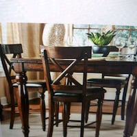 rectangular brown wooden table with six chairs dining set 724 km