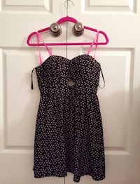 Black and Pink Polka Dot Print Short Open Back A-Line Dress London, N6A 2S5