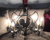 Six light bronze chandelier with rooster design Bloomingdale, 60108