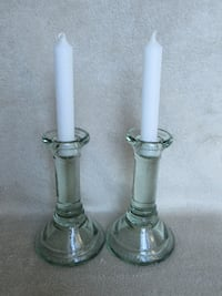 2 glass candle stands Burlington
