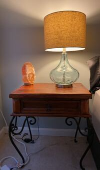 Two matching nightstands with drawers- wrought iron and solid wood Herndon, 20171
