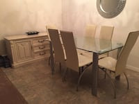 6 chairs W/glass table