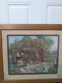 brown wooden framed painting of house Navarre, 32566