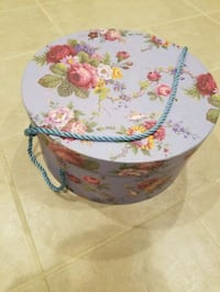 Decorative storage box.  14 inches in diameter