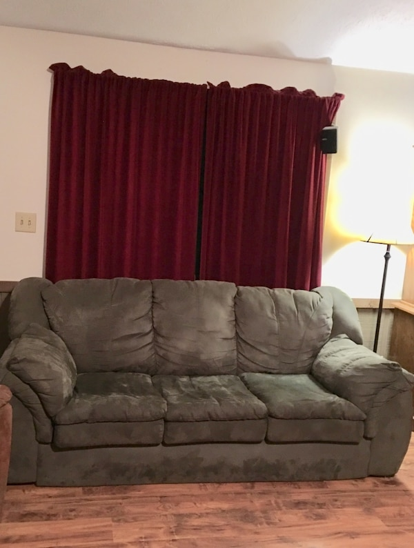 Used Sofa Green Microfiber Very Soft No Rips Or Worn