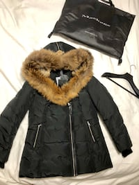 brown and white fur coat