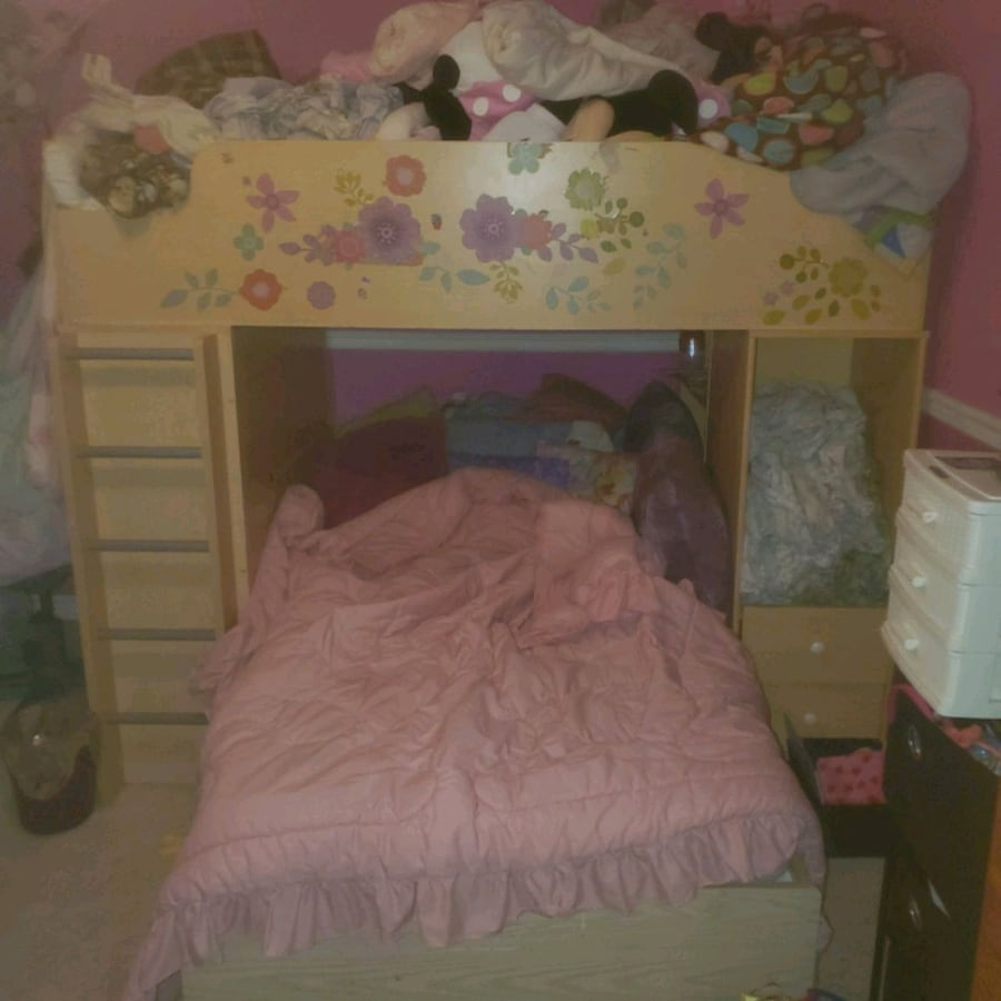 bunk bed set with mattresses