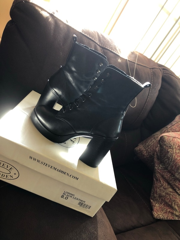 2da037f73511 Used Pair of black steve madden leather round toe chunky heeled boots with  box for sale in Castro Valley - letgo