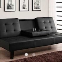 Tufted black leather sectional sofa Toronto, M1V