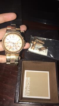 Round gold michael kors chronograph watch with link bracelet Los Angeles, 90026