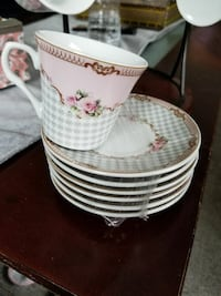 white-brown-and-pink ceramic floral teacup with saucer plate Dearborn, 48120
