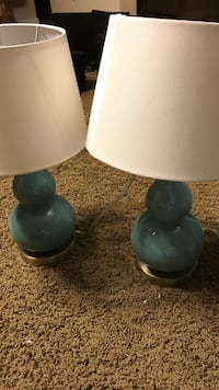 two blue and white table lamps