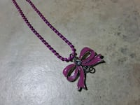 Girls Pink Metal chain Bow Necklace  Folsom
