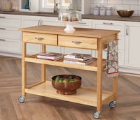 Home Styles 5216-95 Solid Wood Top Kitchen Cart, Natural Finish Newark, 19711