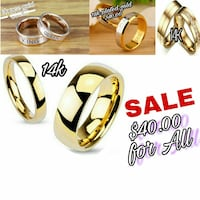 gold-colored bridal rings