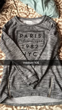 gray and black Paris sweatshirt
