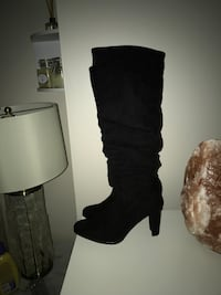 Black suede knee high boots brand new size 9