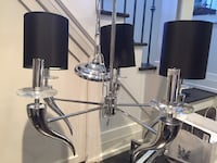NEW CHANDELIER 5 LIGHT CHROME WITH CHRYSTAL DETAIL & BLACK SHADES Toronto, M4K 2T7