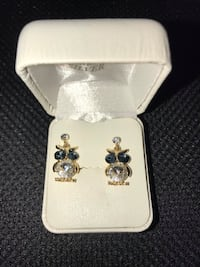Gold and Navy Blue owl earrings San Antonio, 78245
