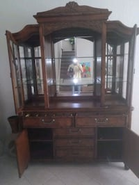 Real wood china cabinet beautiful carvings  914 mi