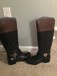 black-and-brown Michael Kors leather round toe chunky heeled knee-high harness boots 53 km