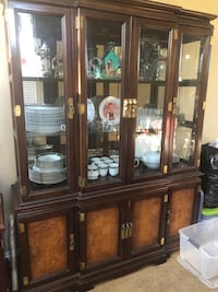 Rectangular brown wooden table with four chairs dining set & marching China hutch Oxnard, 93036