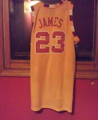 yellow and red James 23 jersey top