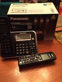 Gray and black Panasonic KX-TG6844 wireless telephone with box Plano, 75025