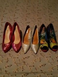 three pairs of assorted color leather pumps Edmonton, T5H 3K8