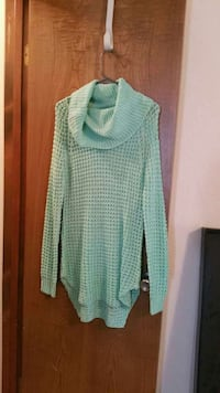 green knitted cowl neck sweater Enid, 73703