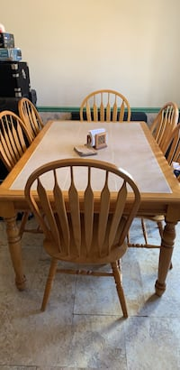 rectangular brown wooden table with four chairs dining set Centreville, 20121