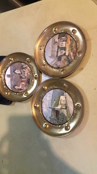 3 Round Brass Pictures Made in England Jackson, 39206