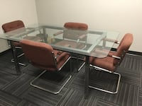 Sell Rectangle Glass Table + Cushioned Chairs Brampton, L6Z 4P3