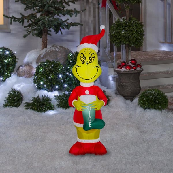 4 Foot Tall Pre-Lit Inflatable Grinch Blow Up Christmas Yard Decoration