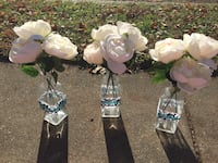 Silk roses in vases w/ damask and Teal ribbon