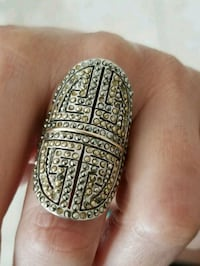Ring NF 925 Sterling Siver with 14K Yellow Gold  Athens