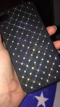 Svart läder diamant studded iPhone fodral