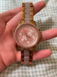 round gold Michael Kors chronograph watch with link bracelet Watervliet, 12189