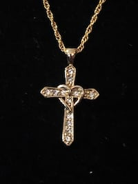 Gold filled Cross and diamond chips.