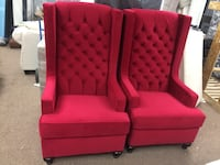 red and black fabric sofa chair