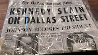 50 year anniversary full sealed newspaper of JFK assassination in 1963