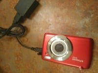 red and silver Polaroid digital camera