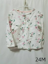 white and pink floral print long-sleeved shirt