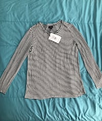 NEW women's long sleeve striped blouse Large Edgewater, 21037