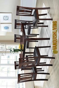 New Espresso Wood Dining Table Set 1 Table 6 Chairs
