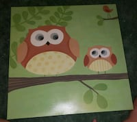 white and green owl painting 862 mi