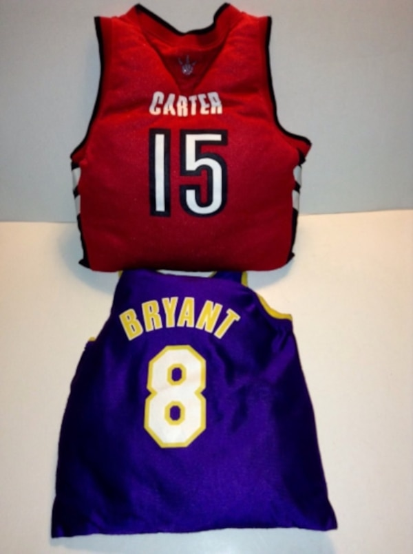 0cd81fe56ae Brukt NBA Jersey Shape Cushion Set Lakers And Raptors Los Angeles Lakers  NBA Kobe Bryant 8 Jersey Shape Cushion til salgs i London - letgo