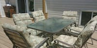 rectangular black metal framed glass top patio table Niagara Falls, L2E 6S6