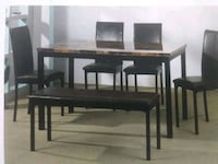 rectangular brown wooden table with four chairs dining set Tampa, 33604
