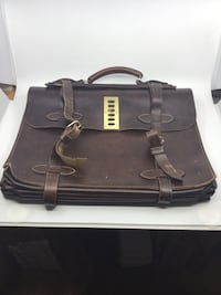 Vintage large leather briefcase with locking clasp